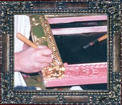 Hand carved replica Spanish frame in 22k goldleaf,burnishing water gilding